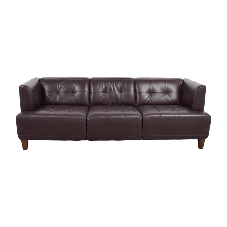 Macy's Macy's Brown Tufted Leather Couch