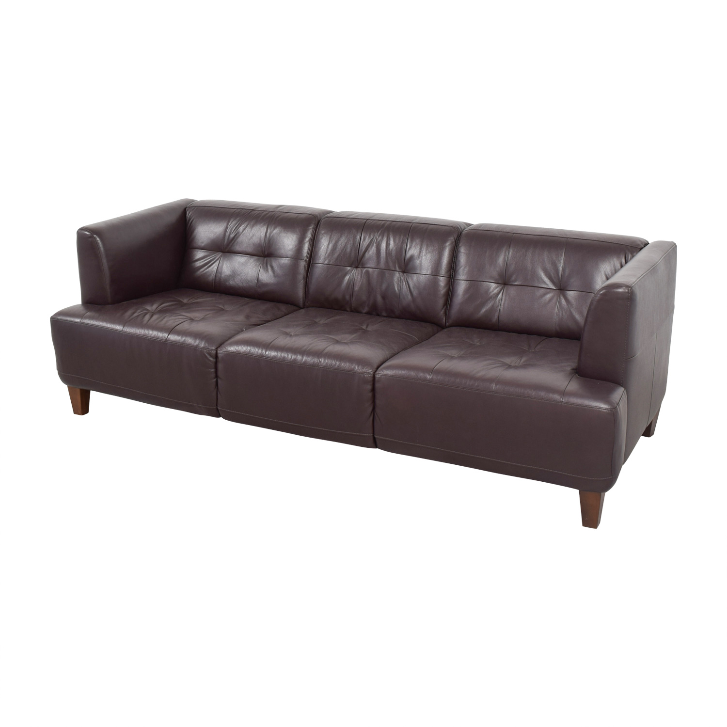 Macys Macys Brown Tufted Leather Couch second hand