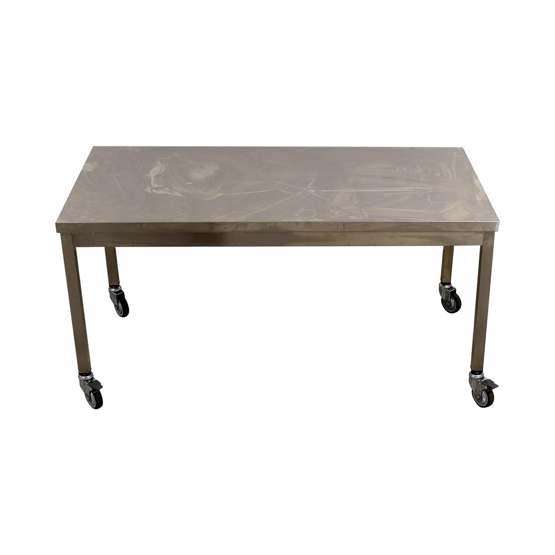 Wheeled Utility Metal Table on sale