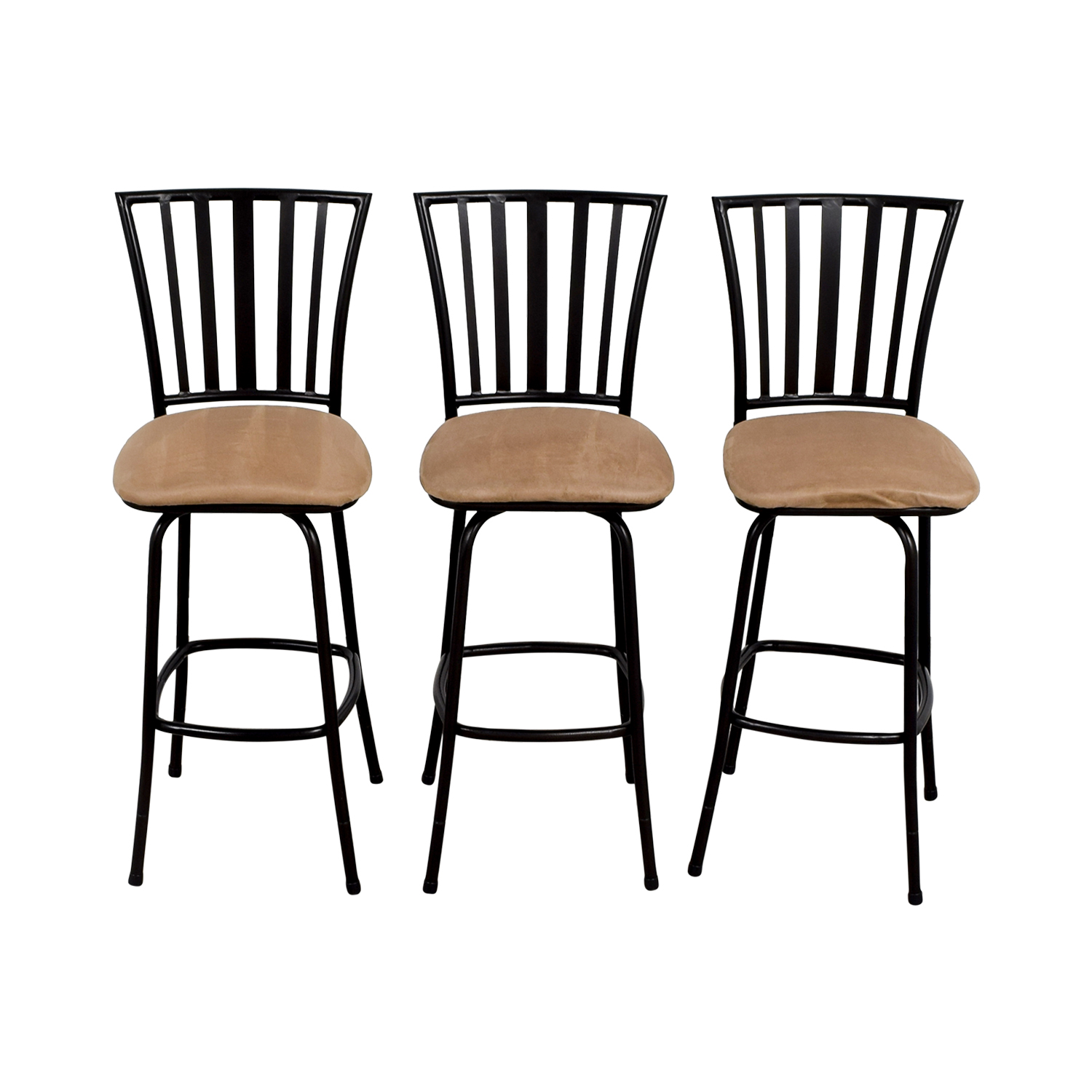 buy Tan Upholstered Stools with Black Frame Chairs