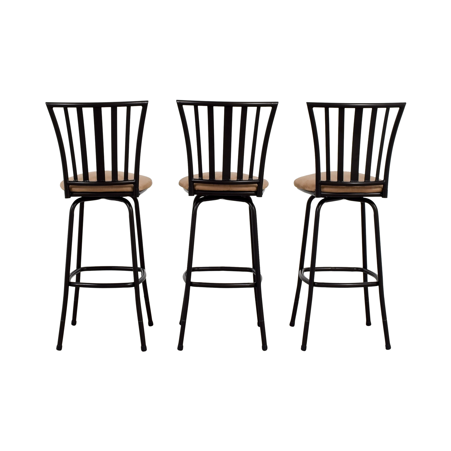 Tan Upholstered Stools with Black Frame nyc