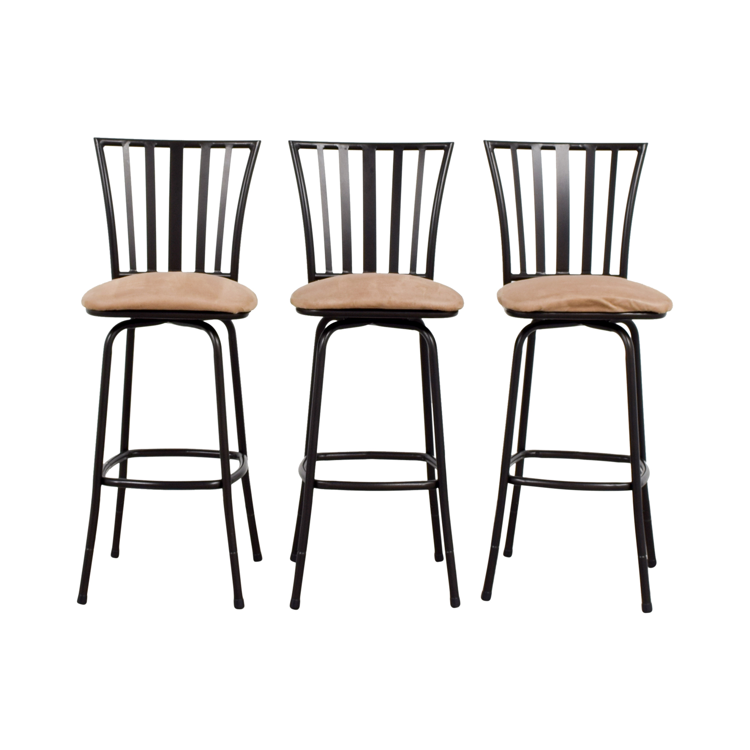 Tan Upholstered Stools with Black Frame dimensions
