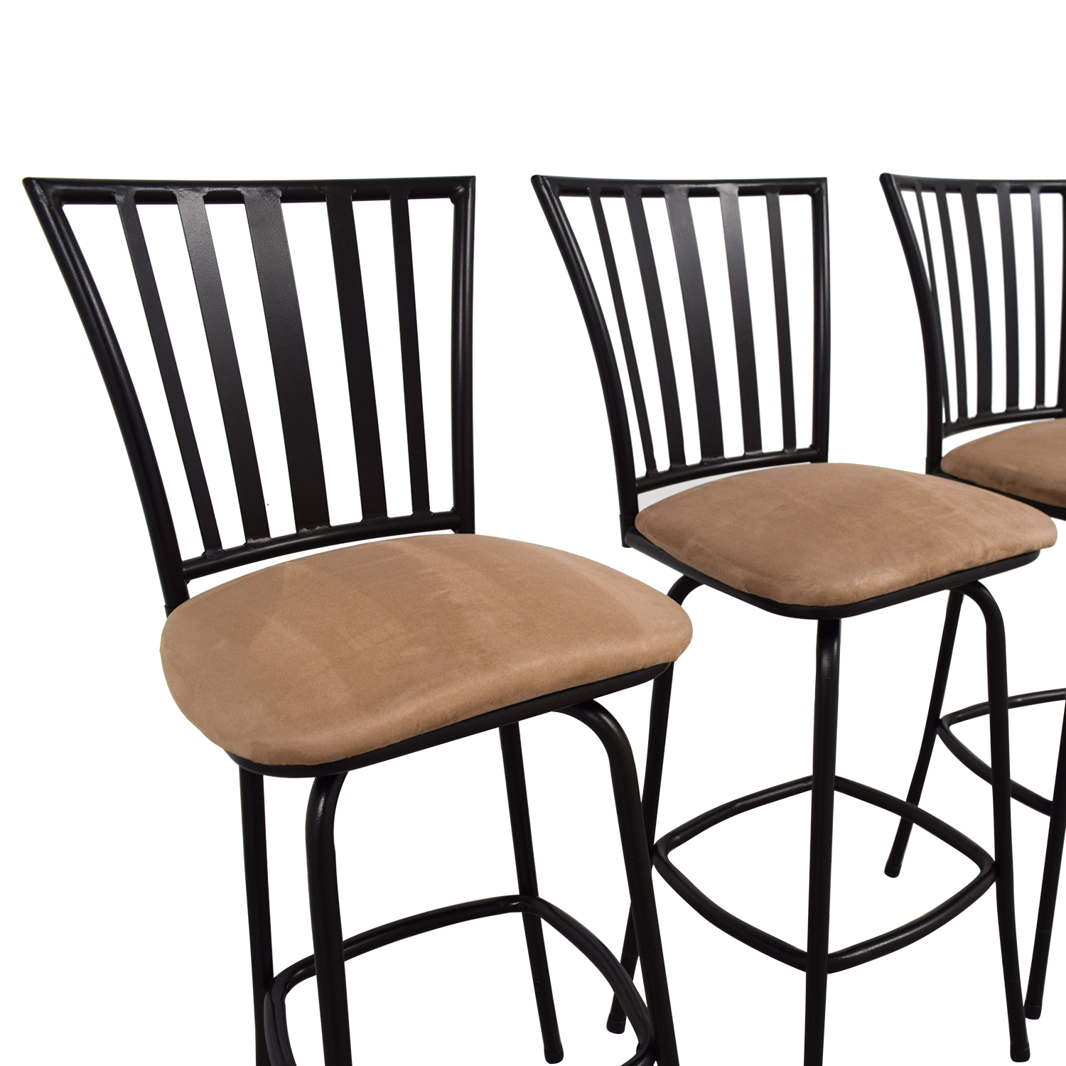 Tan Upholstered Stools with Black Frame tan