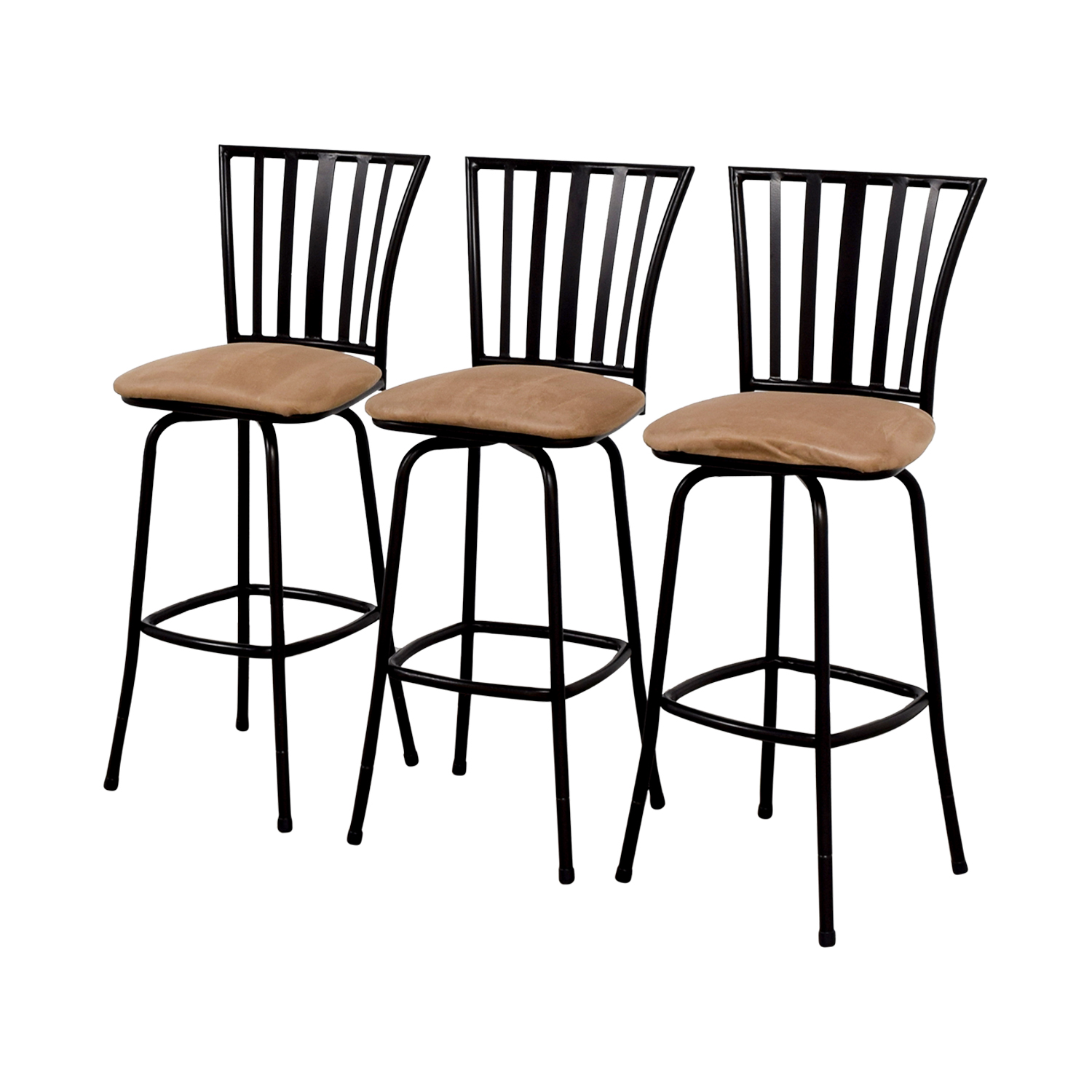 Tan Upholstered Stools with Black Frame / Stools