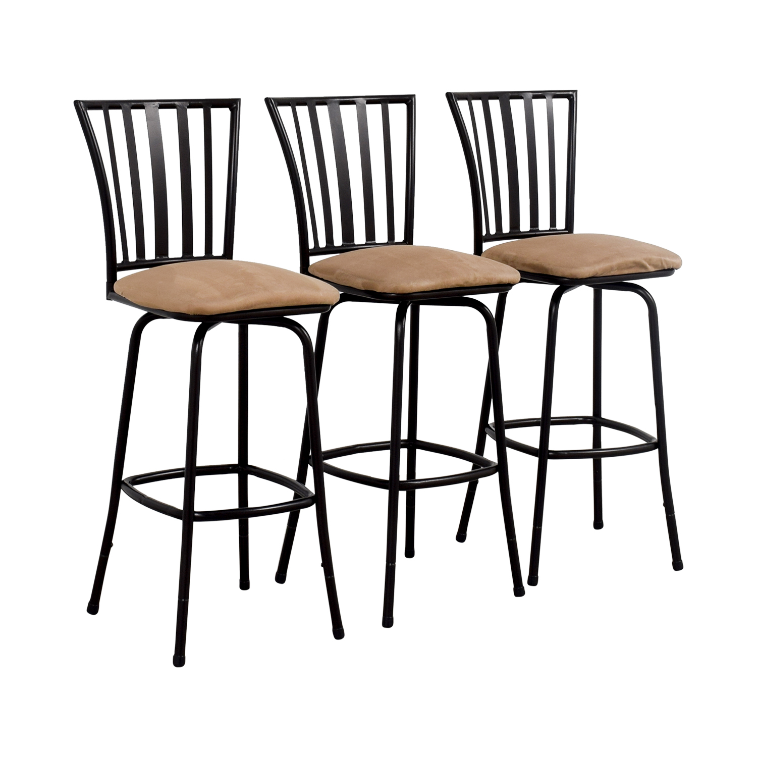 Tan Upholstered Stools with Black Frame