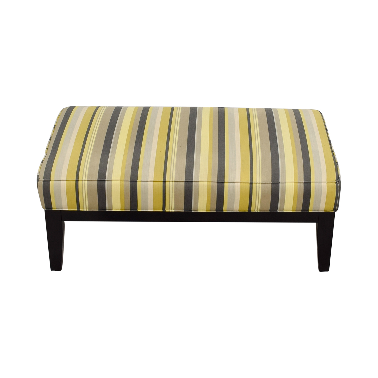 Raymour & Flanigan Raymour & Flanigan Yellow Green and Grey Striped Oversized Ottoman used