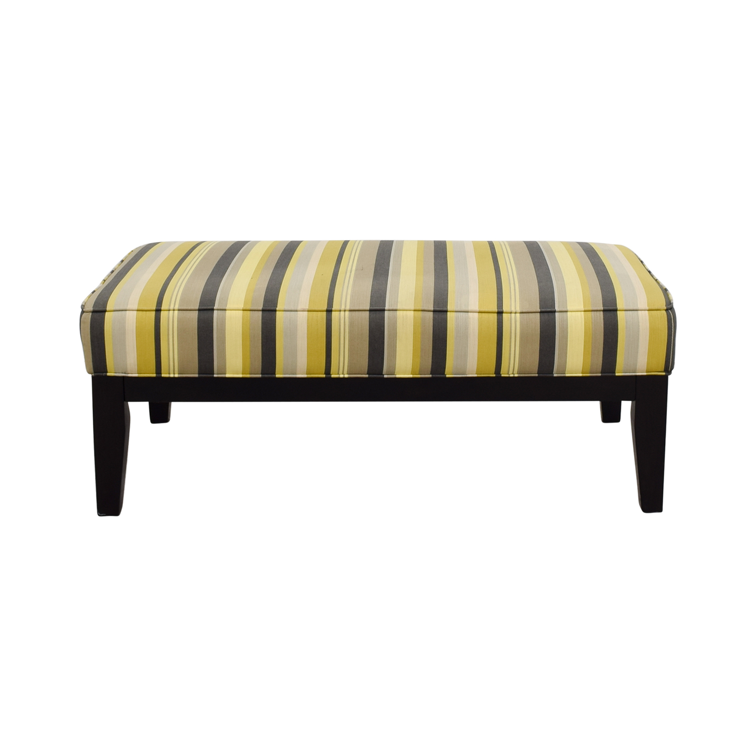 Raymour & Flanigan Yellow Green and Grey Striped Oversized Ottoman / Ottomans