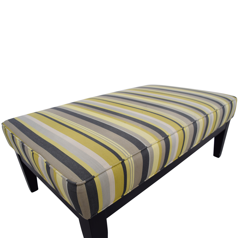 Raymour & Flanigan Raymour & Flanigan Yellow Green and Grey Striped Oversized Ottoman nyc