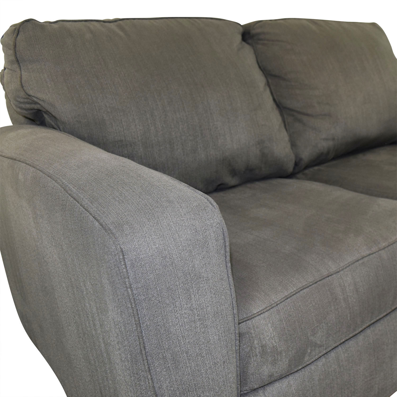 shop Raymour & Flanigan Slate Grey Two-Cushion Sofa Raymour & Flanigan Classic Sofas