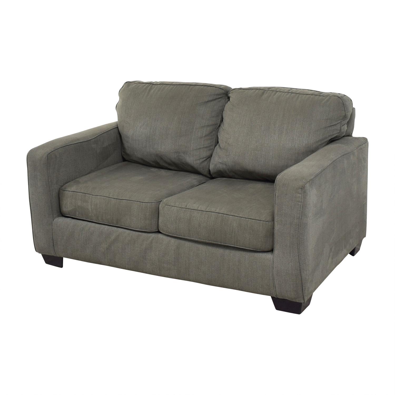 Raymour & Flanigan Slate Grey Two-Cushion Sofa / Sofas