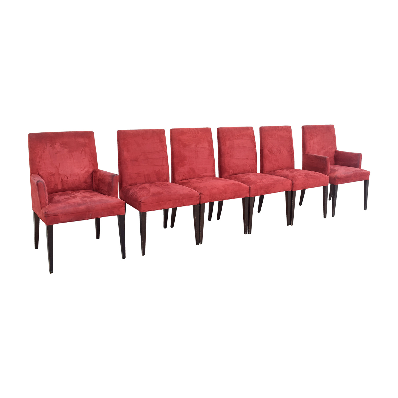 Crate & Barrel Crate & Barrel Microsuede Cranberry Chairs dimensions