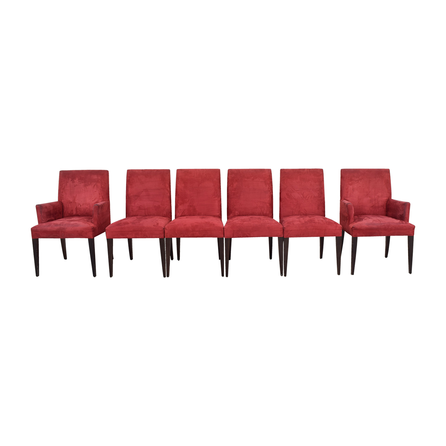 Crate & Barrel Crate & Barrel Microsuede Cranberry Chairs second hand