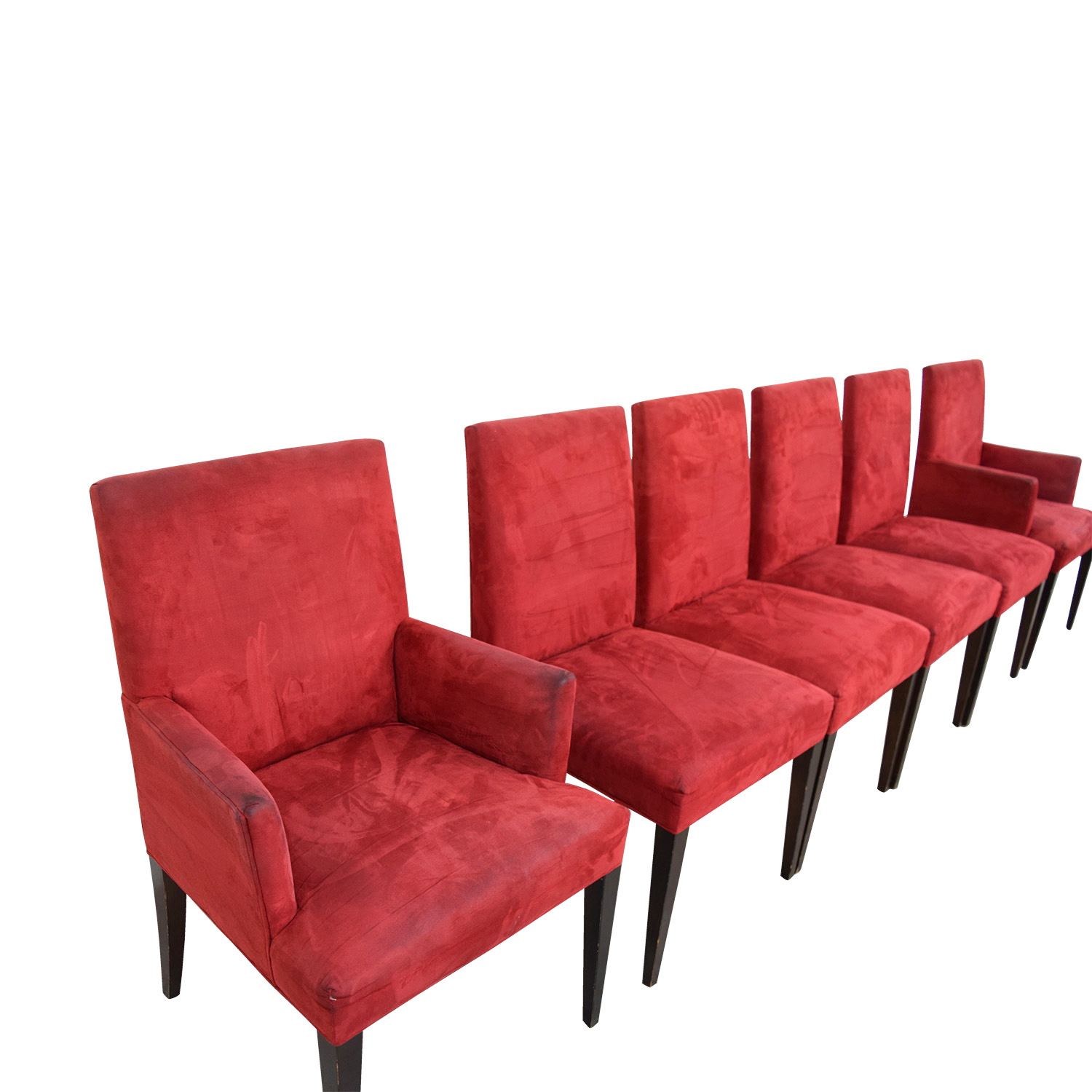 shop Crate & Barrel Microsuede Cranberry Chairs Crate & Barrel Dining Chairs