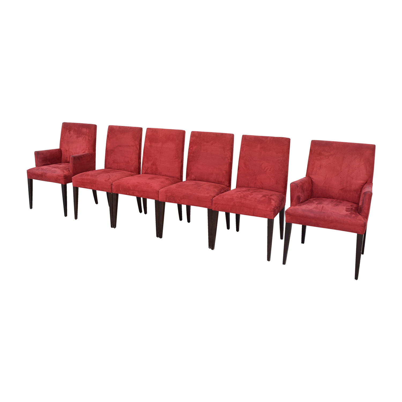 Crate & Barrel Crate & Barrel Microsuede Cranberry Chairs burgundy