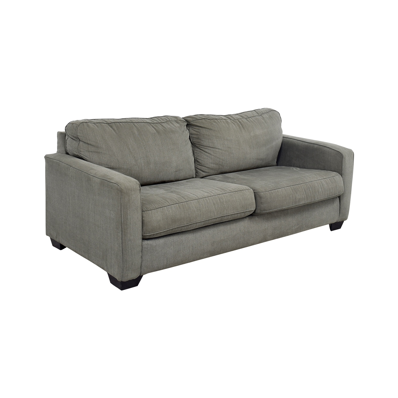 shop Raymour & Flanigan Grey Two-Cushion Sofa Raymour & Flanigan