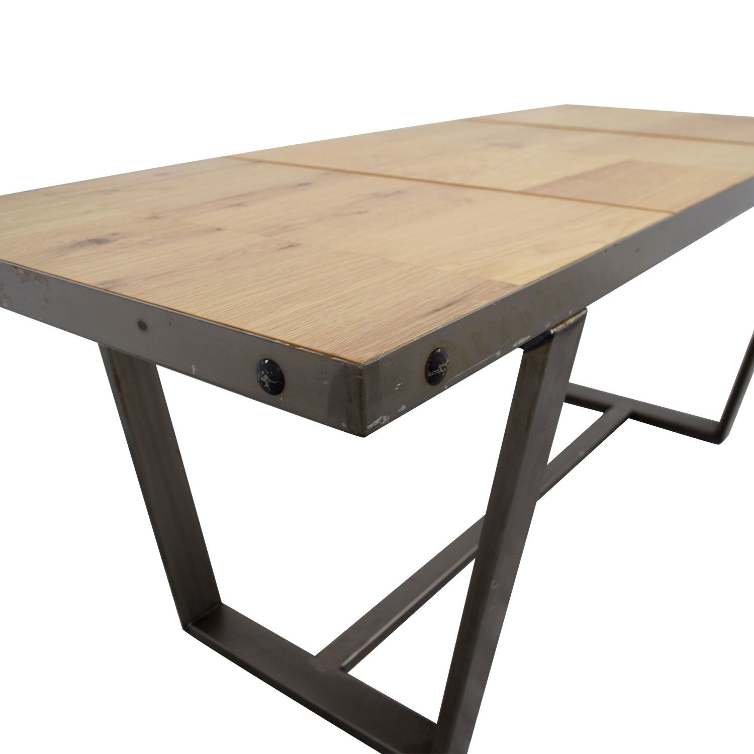 Patrick Cain Beech and Metal Dining Table sale