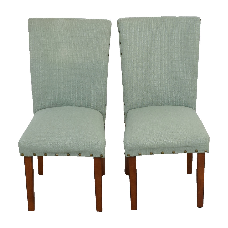 Seafoam Upholstered Nailhead Chairs nyc