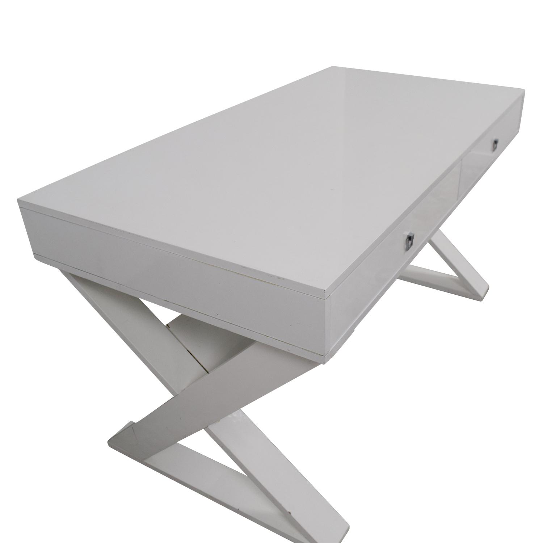 90 Off Z Gallerie Z Gallerie Jett White Lacquer Desk