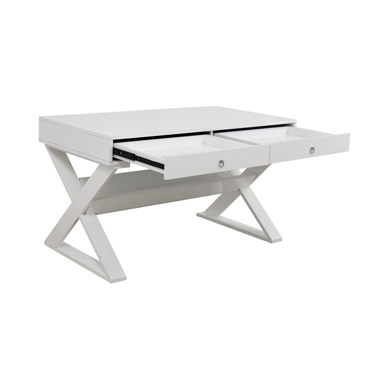 Z Gallerie Z Gallerie Jett White Lacquer Desk for sale