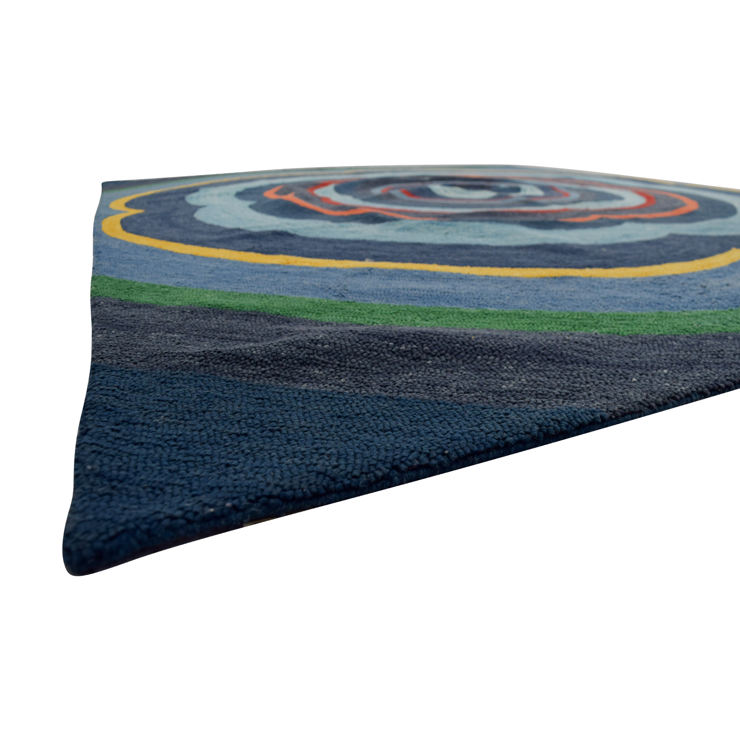 Obeetee Obeetee Annapolis Blue Hand Hooked Rug Blue/Orange/Yellow/Green