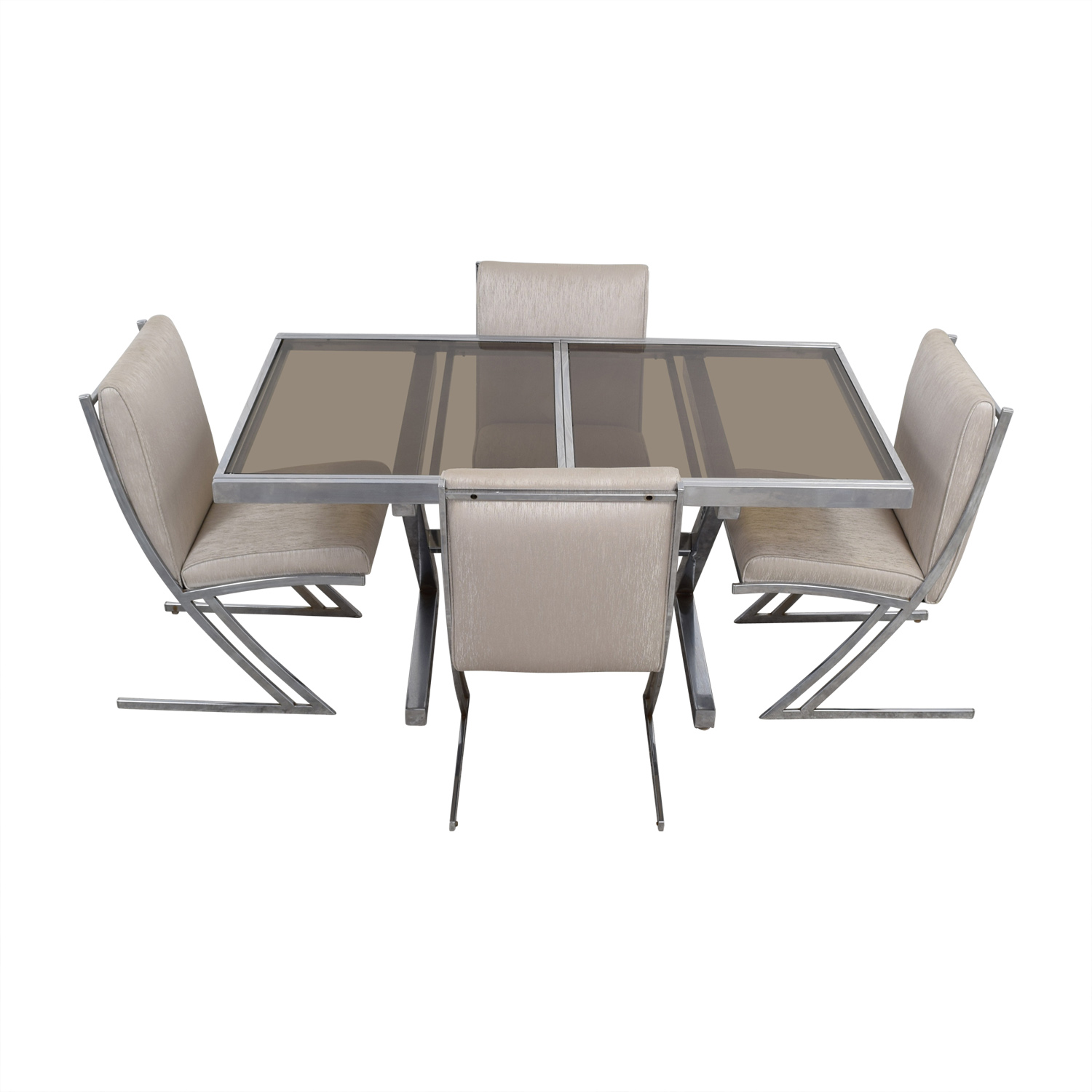 Mid Century Extendable Glass Dining Set