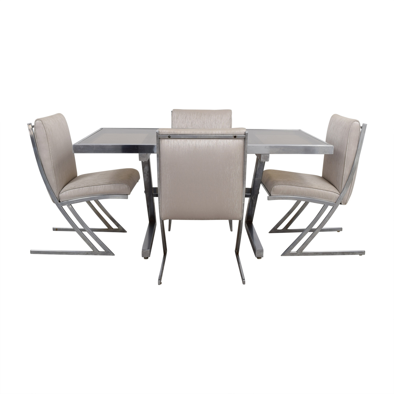 Mid Century Extendable Glass Dining Set on sale