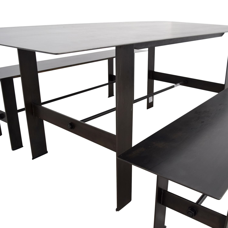 Stretcher Stretcher Black Steel Dining Set Dining Sets