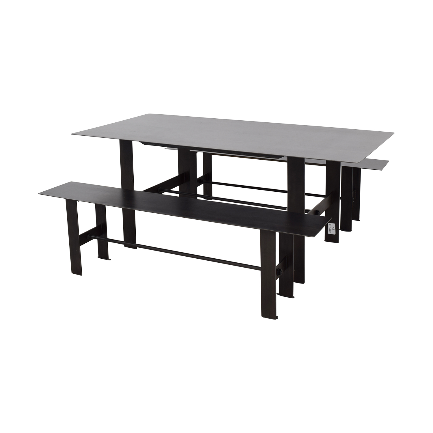 68 off stretcher stretcher black steel dining set tables for Black dining table set