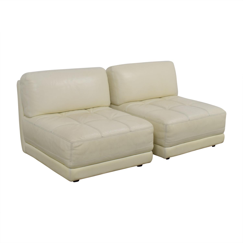 shop Macy's Modulara White Leather Chairs Macy's Chairs