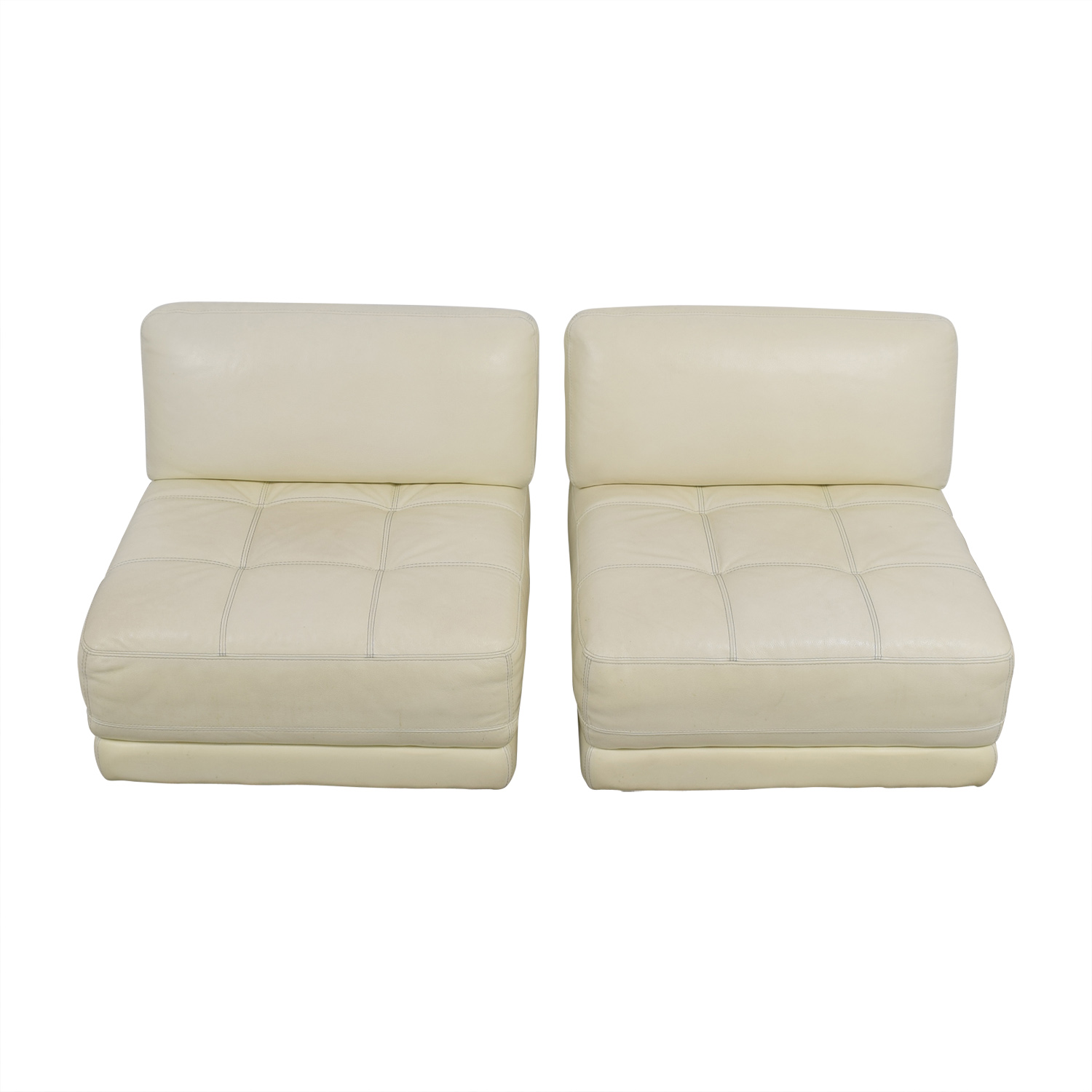 Macy's Macy's Modulara White Leather Chairs for sale