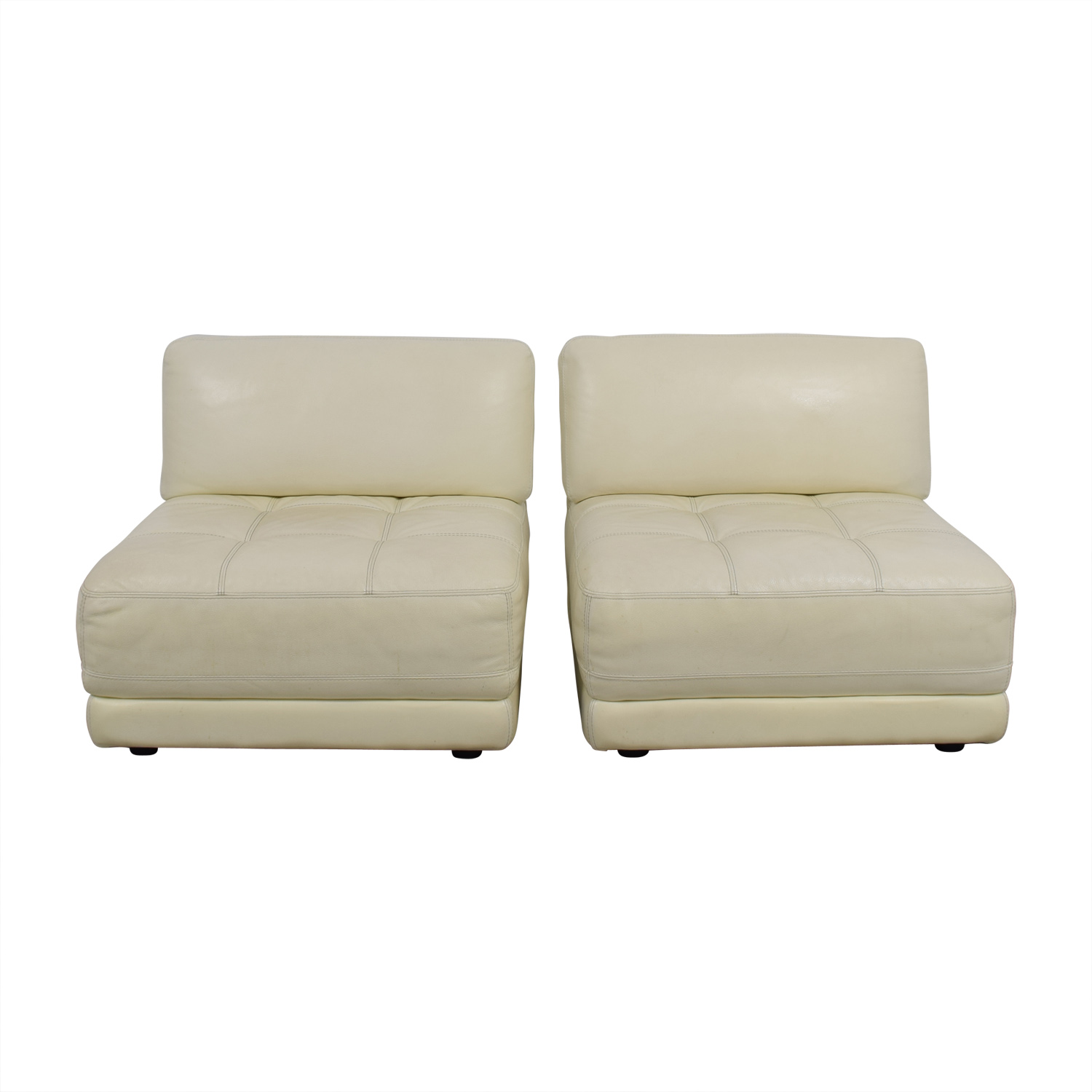 Macy's Macy's Modulara White Leather Chairs second hand