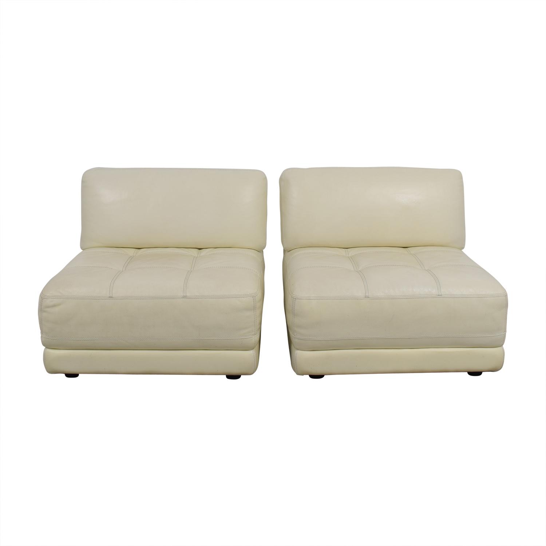 Macy's Macy's Modulara White Leather Chairs