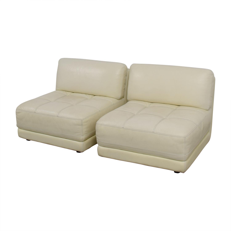 Macy's Modulara White Leather Chairs sale