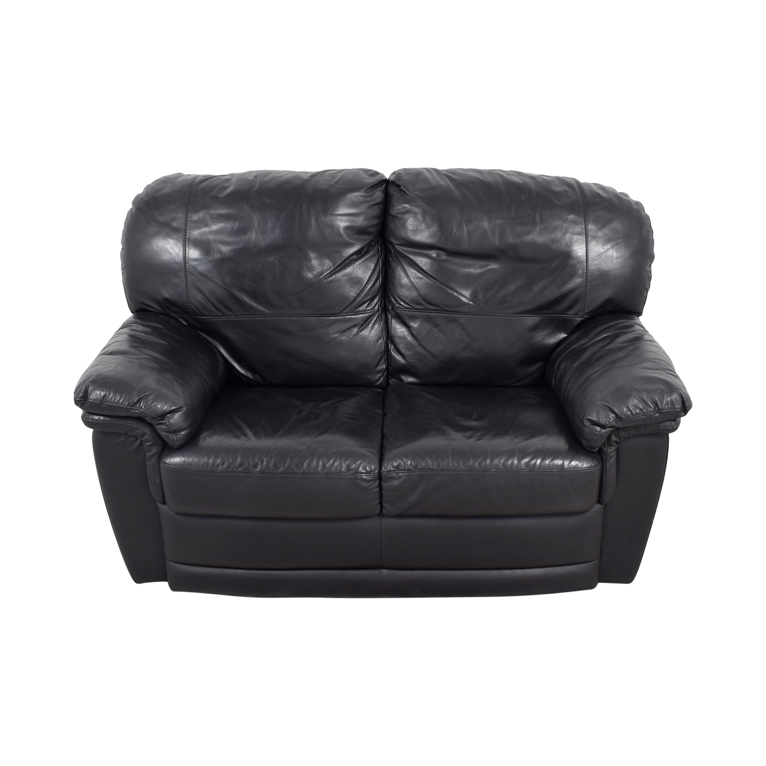 Nicoletti Black Leather Loveseat Loveseats
