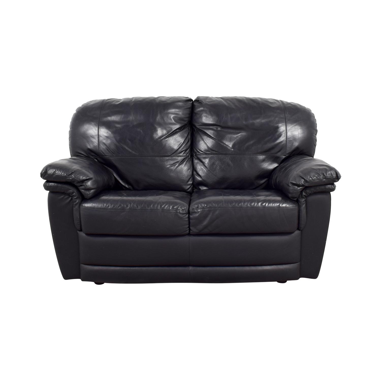 70% OFF - Nicoletti Home Nicoletti Black Leather Loveseat / Sofas