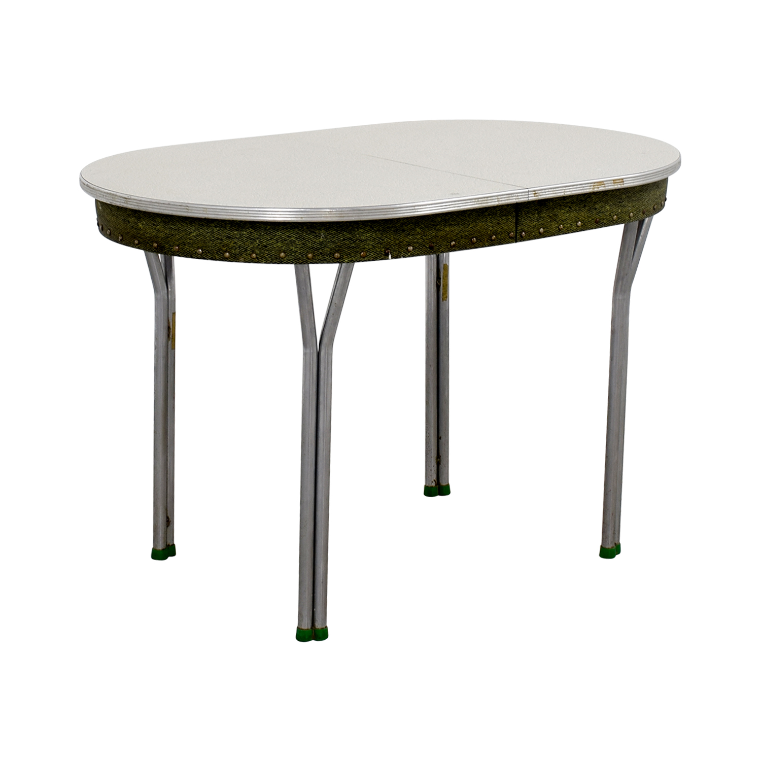 Vintage 1950s Green Formica Table with Inserts used