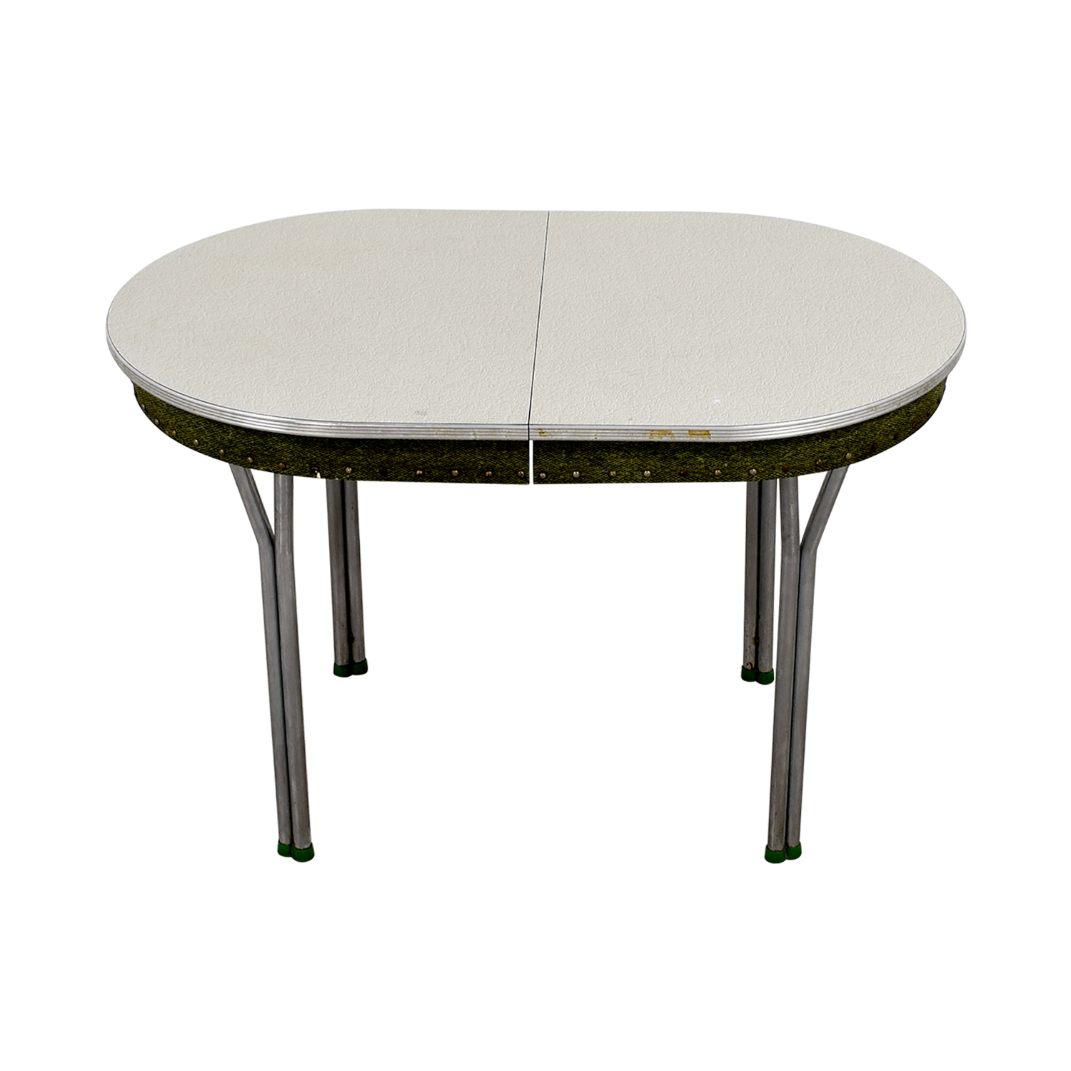 Vintage 1950s Green Formica Table with Inserts