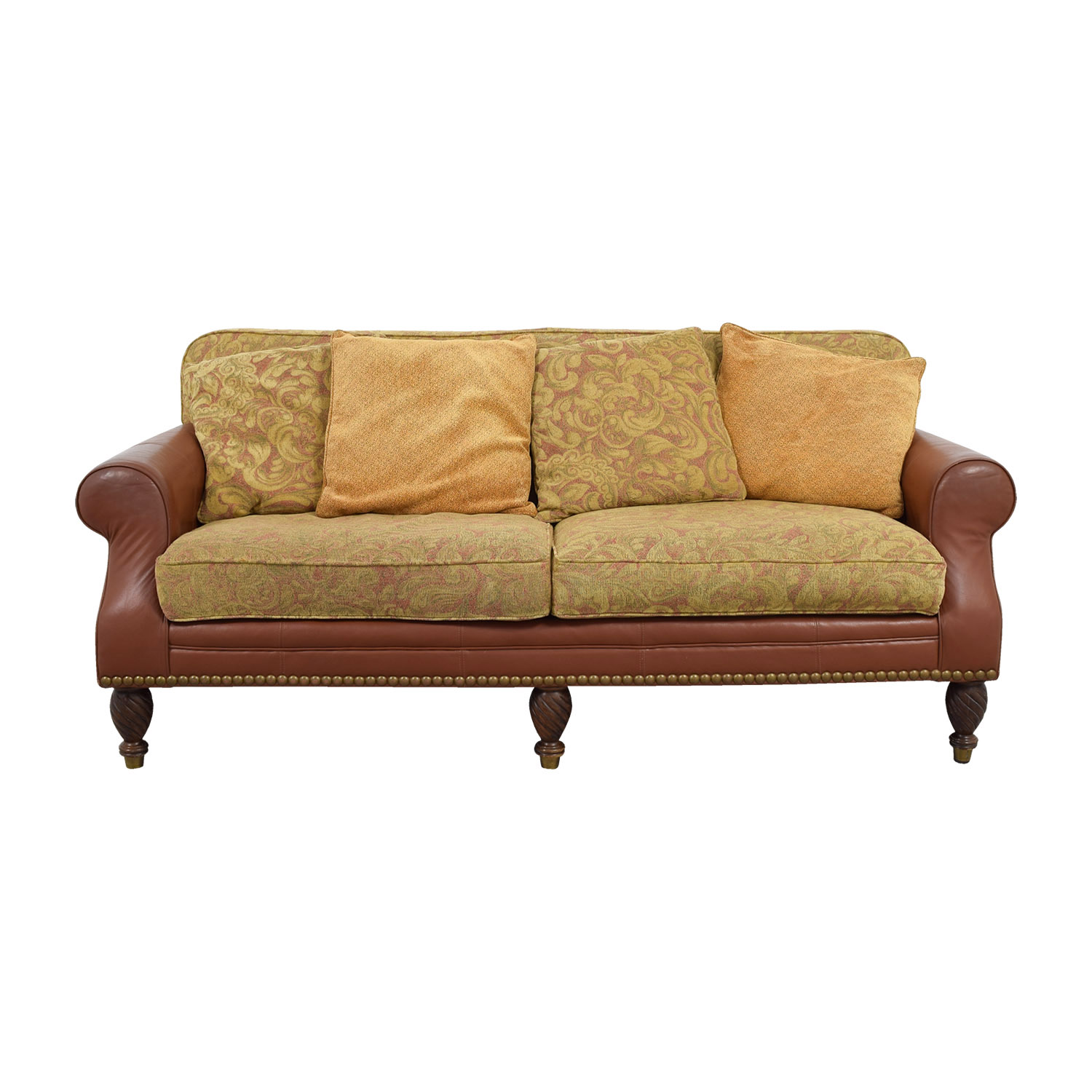 shop Huffman Koos Leather and Jacquard Sofa Huffman Koos