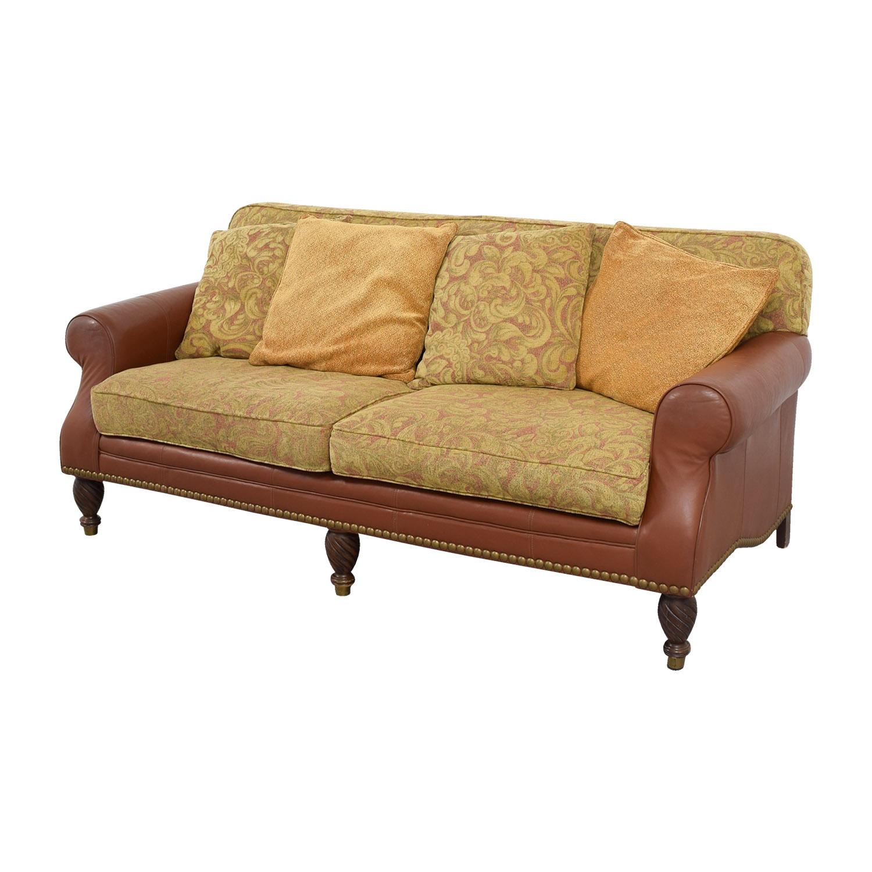 Huffman Koos Huffman Koos Leather and Jacquard Sofa Classic Sofas
