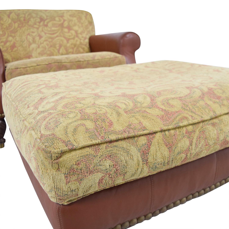 80 Off Huffman Koos Huffman Koos Leather Jacquard Chair And Ottoman Chairs