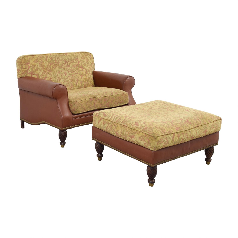 shop Huffman Koos Leather & Jacquard Chair and Ottoman Huffman Koos Accent Chairs