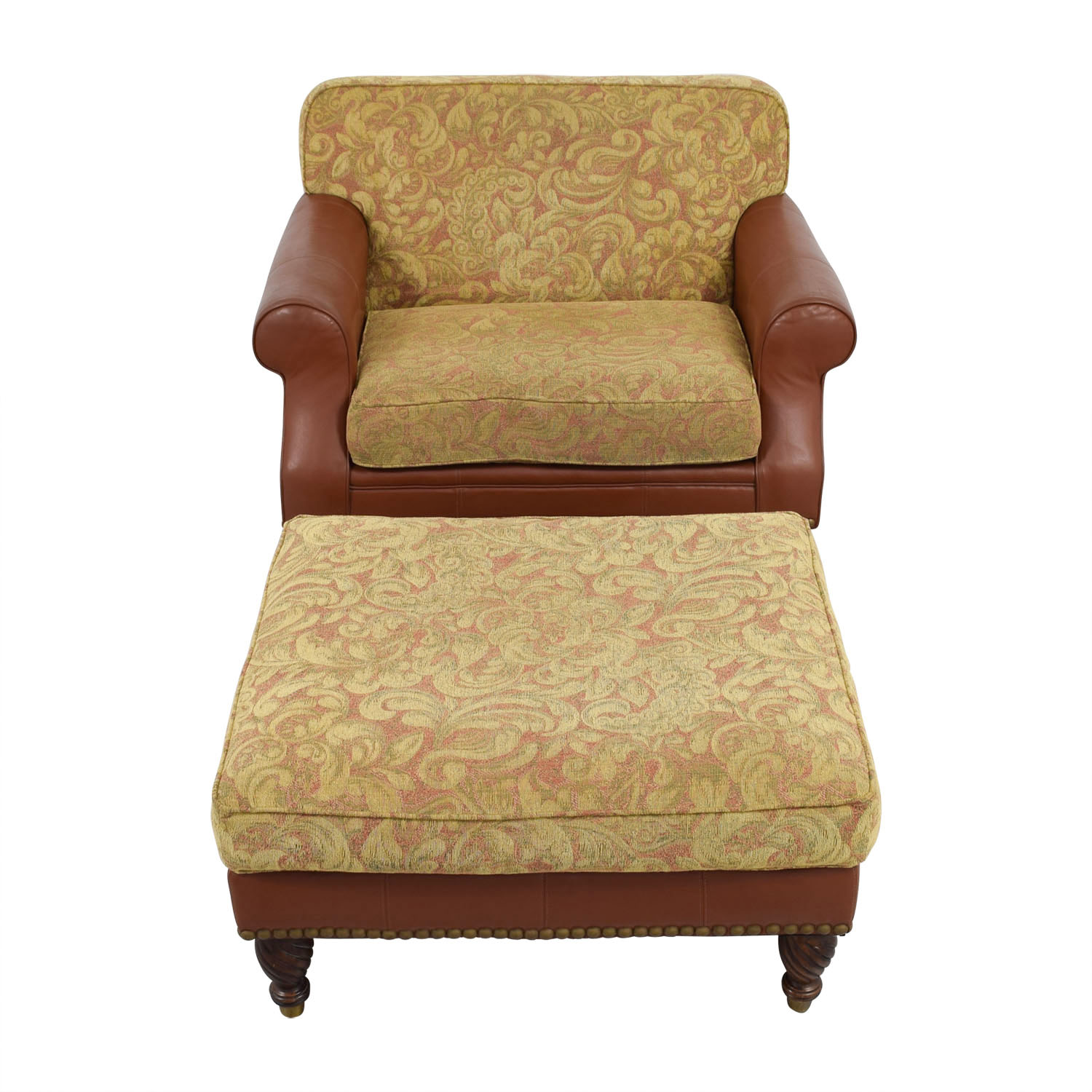 Huffman Koos Leather & Jacquard Chair and Ottoman / Accent Chairs