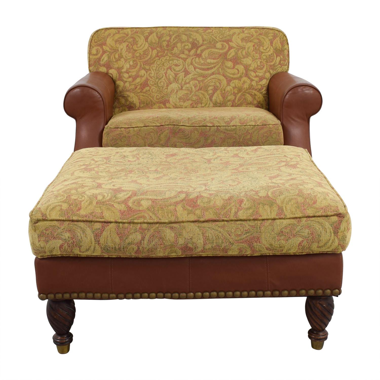 Huffman Koos Huffman Koos Leather & Jacquard Chair and Ottoman dimensions