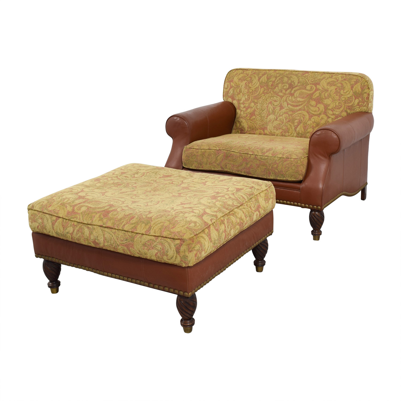 81 Off Huffman Koos Huffman Koos Leather Jacquard Chair And Ottoman Chairs