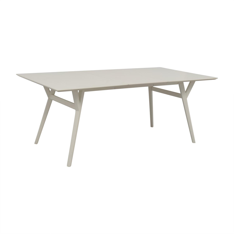 61 off west elm west elm mid century white expandable dining table tables. Black Bedroom Furniture Sets. Home Design Ideas