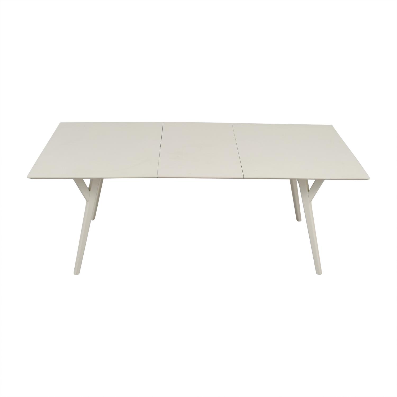 West Elm West Elm Mid Century White Expandable Dining Table dimensions