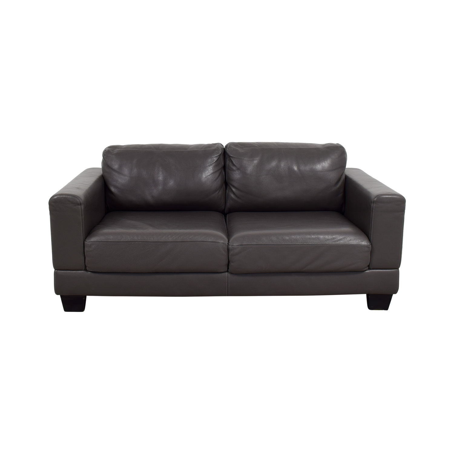 Gray Two-Cushion Leather Loveseat Sofas