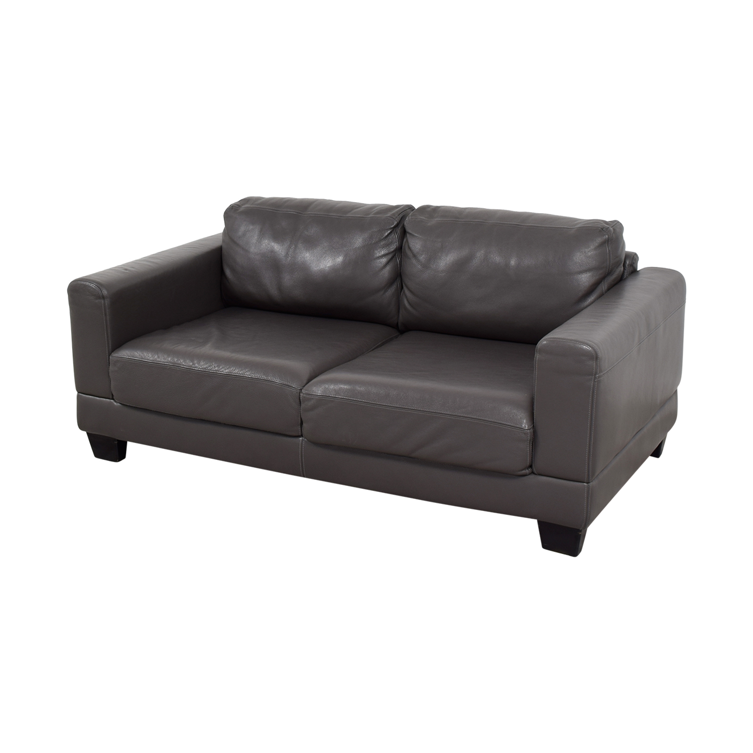Gray Two-Cushion Leather Loveseat nj