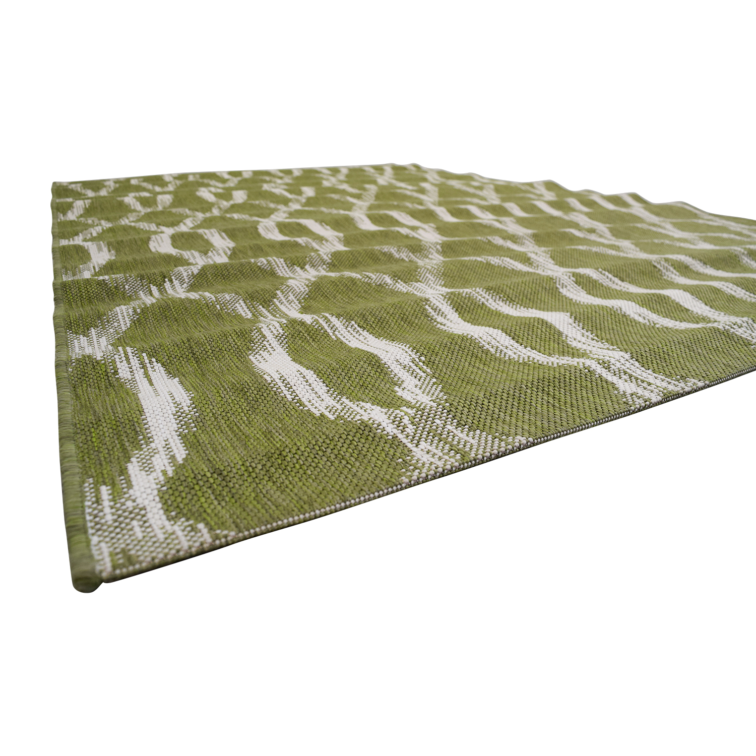 Crate & Barrel Crate & Barrel Indoor and Outdoor Green and White Rug discount