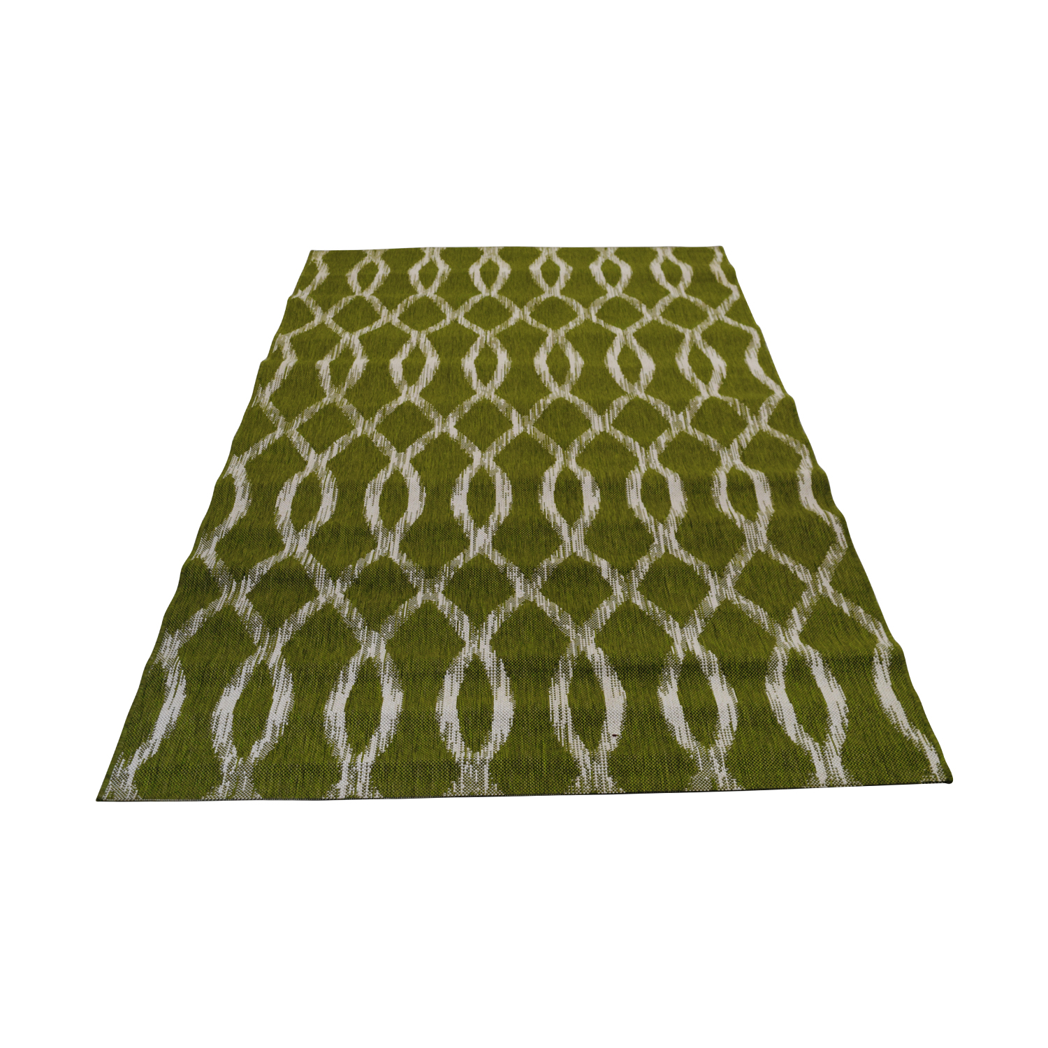 Crate & Barrel Indoor and Outdoor Green and White Rug / Rugs